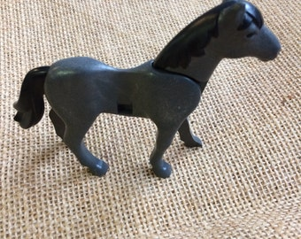 Vintage Playmobil Horse, Plastic Toy Horse, Gray Horse, Dollhouse Figures, Retro Toy, Pretend Play