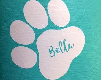 Custom Pet Name on Paw Print Vinyl Decal