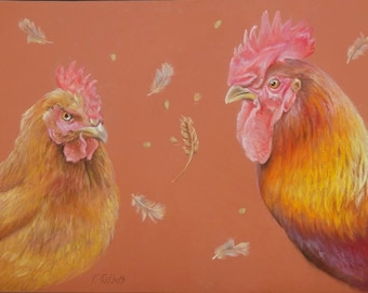 ROOSTER and Hen Realistic ANIMAL PAINTING Large size Decorative painting Pastel drawing Original Art Hand drawn Birds Warm colours