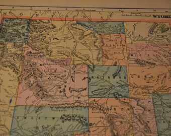 1904 State Map Wyoming - Yellowstone National Park Vintage Antique Map Great for Framing 100 Years Old