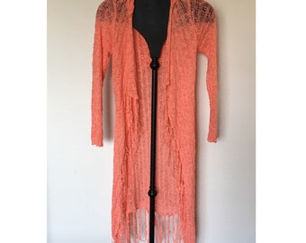 Coral Knitted Shrug with Hood