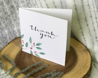 Handmade watercolor leaf thank you card