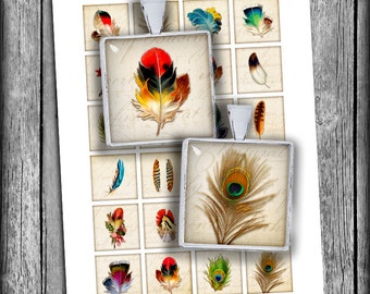 Feathers Square Images 15x15mm, 1x1 inch, 1.5x1.5 inch Printable images for Jewelry Making Digital Collage Sheet -  Instant Download
