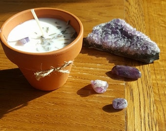 Lavender plant pot soy wax candle with amethyst crystal