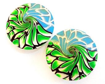 2 handmade green blue beads, Lentil beads, Polymer clay beads, Handmade beads, Swirl beads, Unique beads, Craft beads, Green blue beads