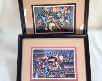 Vintage Set of 2 Caribbean Themed Prints Framed and Matted