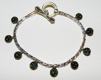 DaVinci Charm Bracelet with Green Beads