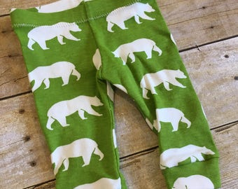 SALE! Newborn Organic baby leggings - Baby boy leggings - Baby boy pants - bear print baby leggings - gender neutral legging
