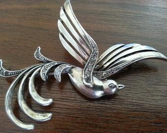 Vintage Silver Bird Brooch