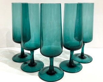 5 Teal Champagne Flutes with Pedestal Base // Tall Blue Champagne Flutes // 1960's-1970's