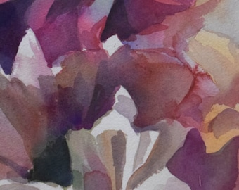 Daisies in the Shadows- Floral Original Watercolor painting by SriWatercolors 11 x 30 in