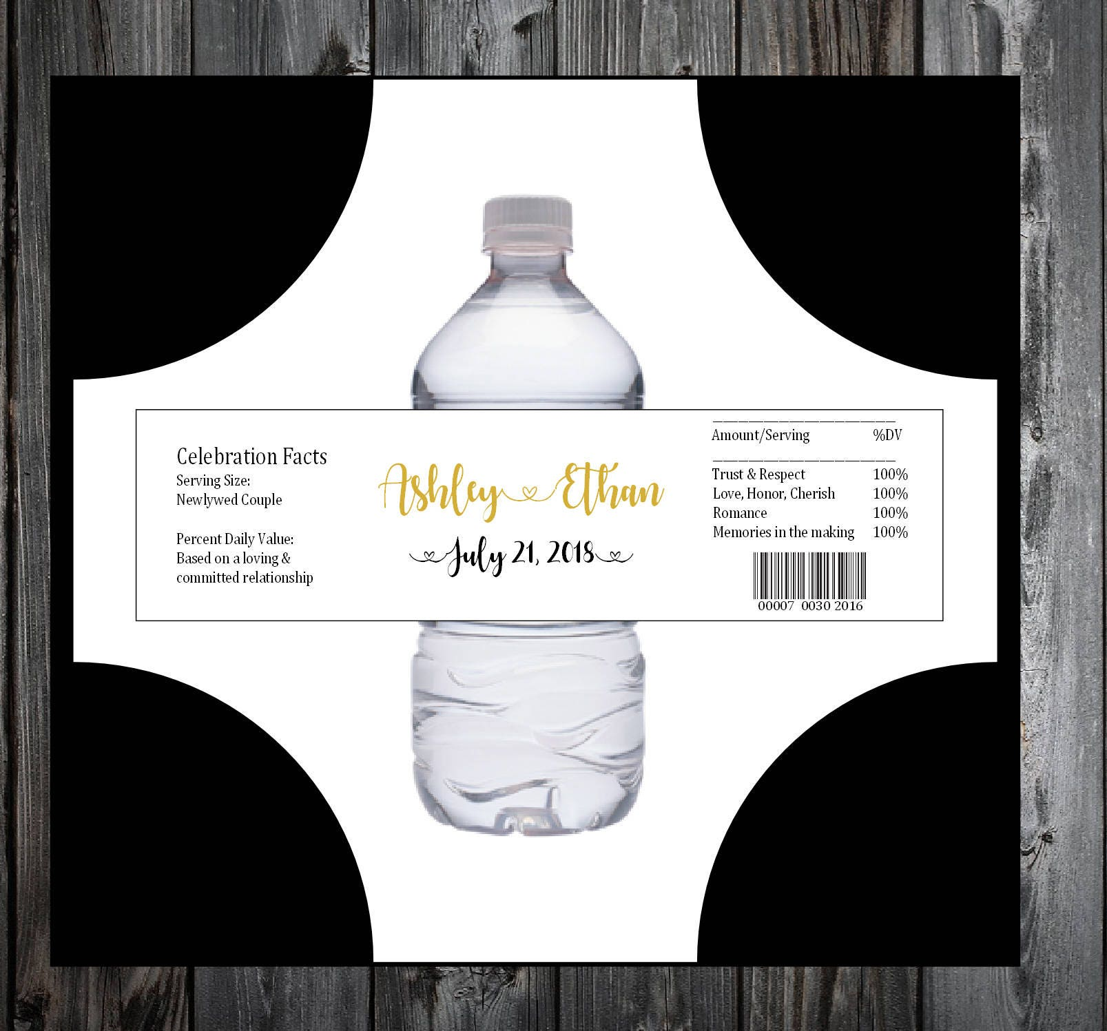140 Black and Gold water bottle labels - Wedding favors