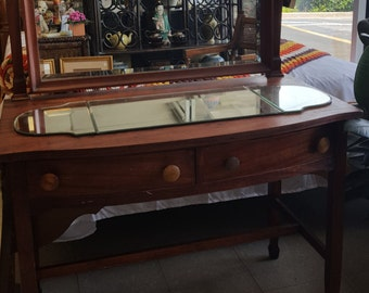Antique vanity Dresser with Mirror and 2 drawers
