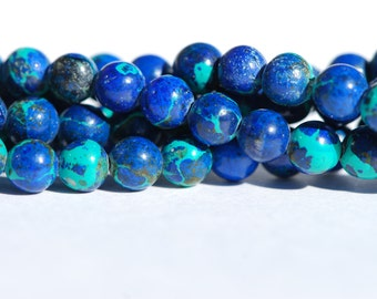 One Strand Natural color Malachite Azurite Beads, Round Beads, 5mm, One 16 inch strand, B0361