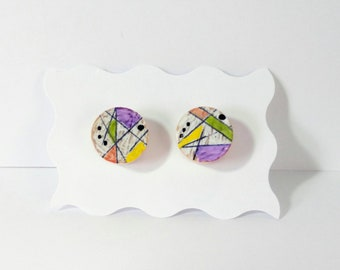 Mid century Inspired Stud Earrings -  Modern - Abstract