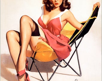 Pin Up Girl Art Print Reproduction, that low down feeling by Gil Elvgren