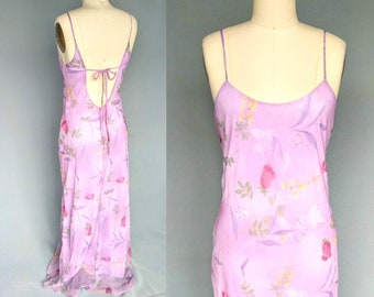 so it goes / 90s open back lavender floral maxi dress spaghetti strap / medium