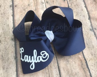 Navy Hair Bow, Personalized Bows, Navy and White Bow, Personalized Hair Bows - White and Navy Hair Bow - Navy Boutique Bow - Bows with Names