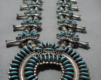 Needlepoint Turquoise Vintage Native American Navajo Sterling Silver Squash Blossom Necklace