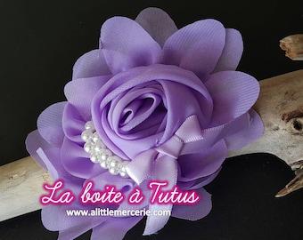 Large fabric flower purple mauve Lavender CHIFFON with Pearl hair headband belt bag hat FMP2 tutu dress accessory diy
