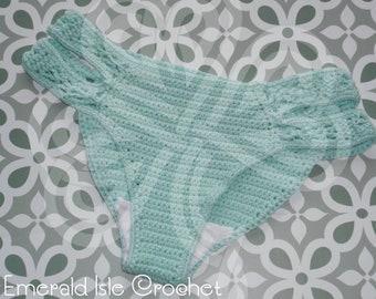 Handmade Crochet Turquoise Bikini Bottoms - X-Small (UK 4-6) - Pattern by MermaidCatDesigns