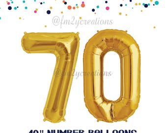 70th Gold Number Balloons | 70th Birthday Decor | 70 Black Balloon Numbers | 70th Balloons | 70 Balloon | 70th Birthday Photo Prop Balloon