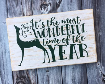 It's the most wonderful time of the year sign | Christmas sign | holiday sign | Christmas decor | wood sign | Style# HOL94