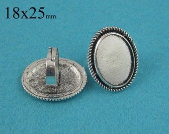 25 Pieces 18x25mm Blank Ring Trays, Rope-edged Round Ring Setting with Matching Glass Cabochons