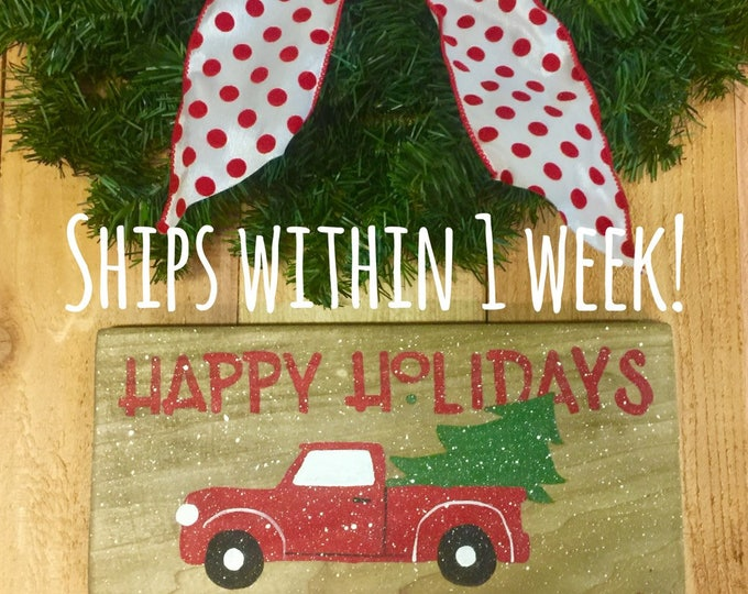 Red Truck and Christmas Tree. Red Truck. Christmas Tree Sign. Rustic Christmas. Holiday Decor. Vintage Christmas Decor. Christmas Signs