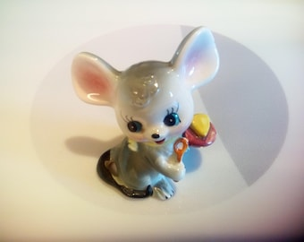 """Vintage 1950""""s Ceramic Mouse Eating Cheese Figurine, Inarco, Made in Japan"""