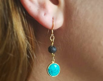 Essential Oil Diffusing Earrings with Turquoise and Lava Stone