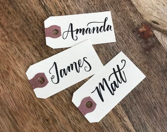 Hand lettered Personalized Name Tags, Custom Gift Tags, Place cards, Calligraphy, Placecards, Escort Cards, Name Cards, Handlettered