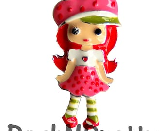 1.25 inches ONE Character Enamel Flat back Center - Strawberry girl