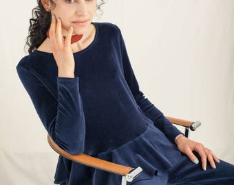 Navy organic cotton velour top - Unique clothing gifts for her