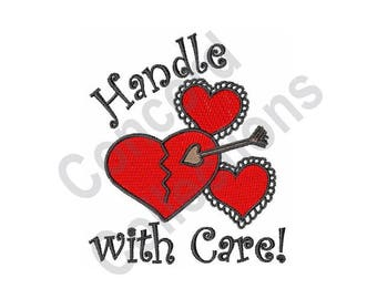Handle With Care - Machine Embroidery Design, Hearts