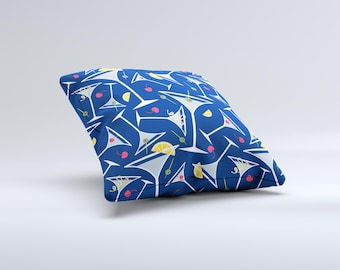 The Blue Martini Drinks With Lemons ink-Fuzed Decorative Throw Pillow
