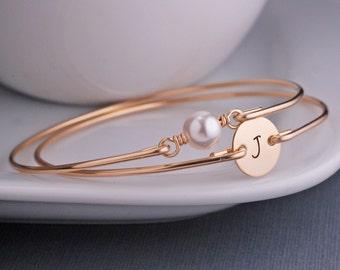 Gold Bangles, Personalized Gold Bangle Bracelet Set TWO Custom 14k Gold Filled Bracelet, Pearl