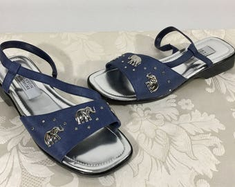 Women's blue sandals, Elephant sandals, Size 8 1/2 sandals, Slip on shoes, Slide on shoes, Stylish sandals, Designer sandals