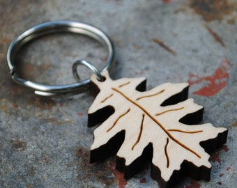 Oak Leaf Wooden Keychain Autumn Accessory Gifts under 25 Fall Fashion