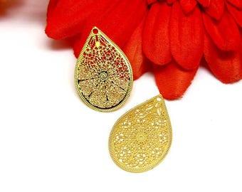 Pendants filigreed prints 4 small gold Teardrop - 26 * 17 mm