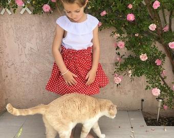 Skirt Valentine Red Heart 2 to 6 years