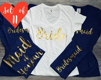 11 Bridesmaid V-neck Shirts | 11 Bachelorette V-neck Shirts | Bridesmaid V-neck Shirts Set of 11 | Gold Glitter V-neck Shirts Tees Tops