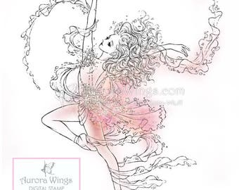 Digital Stamp - Instant Download - Ballet - Star Dancer - digistamp - Ballerina en Pointe - Fantasy Line Art for Cards & Crafts