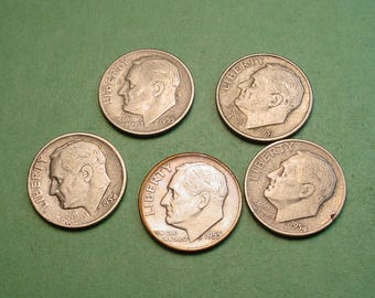 5 Pcs Different US Silver Dimes for Ten American Dollars<> Great Survival Money <> The Coins you see are the coins you get<> # ET2221