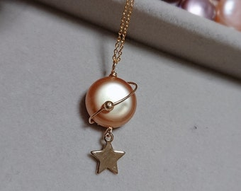 Planet Necklace / Baroque Pearl Necklace / Coin Pearl Necklace
