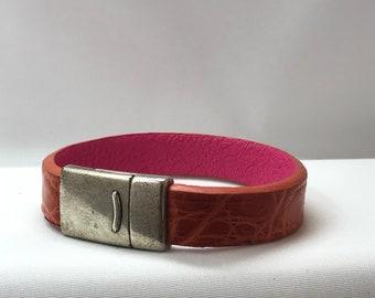 Orange leather bracelet
