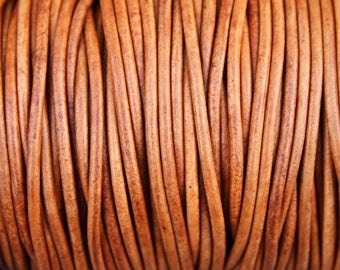 3mm Leather Cord - 10 Yards Light Brown Distressed Leather Cord Round Natural Dye