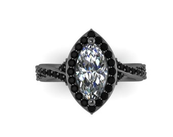 Marquise Engagement Ring Black Diamond Vintage Wedding Ring Black Gold Fine Jewelry Halo Diamond Engagement 10x5mm Moissanite Center- V1109
