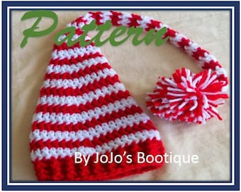PDF PATTERN - Striped Elf Hat - Christmas Elf Hat Pattern - Baby Pixie Hat Pattern - Crochet Elf Hat - Christmas hat  -by JoJosBootique