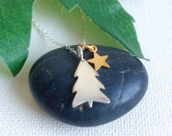 Tree Necklace, Pine Tree Necklace, Tree and Star Necklace, Sterling Silver Tree,NorthWoods,Evergreen Tree Jewelry,Gift For Her,Outdoors Gift